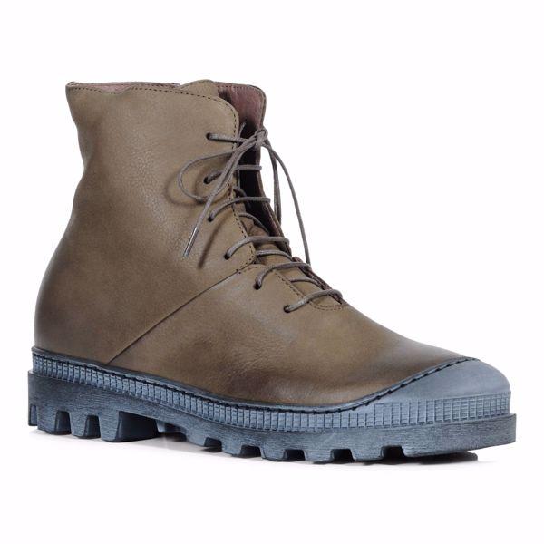 Kort støvle i skind med snøre Blå