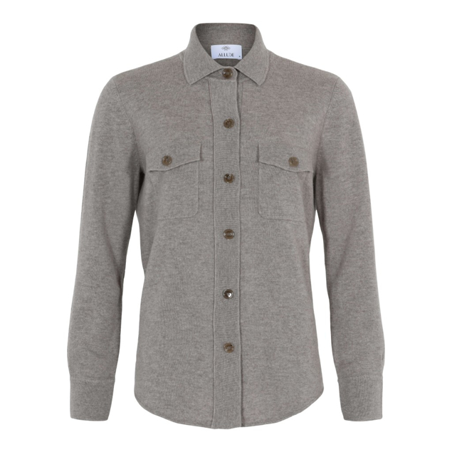 ALLUDE CASHMERE POLO CARDIGAN LYS MUD