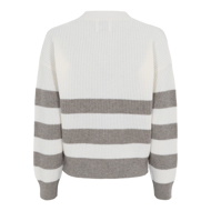 ALLUDE CARDIGAN STRIBET OFF.WHITE/MUD